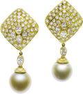 Estate Jewelry:Earrings, Diamond, South Sea Cultured Pearl, Gold Earrings. ... (Total: 2Items)
