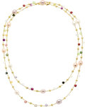 Estate Jewelry:Necklaces, South Sea Cultured Pearl, Multi-Stone, Gold Necklace, Marco Bicego....