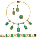 Estate Jewelry:Suites, Emerald, Diamond, Gold Jewelry Suite. ... (Total: 5 Items)
