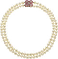 Estate Jewelry:Necklaces, Cultured Pearl, Ruby, Diamond, Gold Necklace. ...
