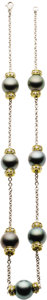 Estate Jewelry:Necklaces, Black South Sea Cultured Pearl, Diamond, Gold Necklace. ...