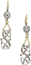Estate Jewelry:Earrings, Victorian Diamond, Silver-Topped Gold Earrings. ... (Total: 2Items)