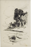 Mainstream Illustration, JOSEPH CLEMENT COLL (American 1881-1921). Swimming Horse.Ink on paper. 5 x 3 in.. Not signed. ...