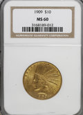 Indian Eagles: , 1909 $10 MS60 NGC. NGC Census: (38/853). PCGS Population (24/569).Mintage: 184,700. Numismedia Wsl. Price for NGC/PCGS coi...