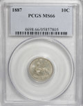 Seated Dimes, 1887 10C MS66 PCGS....