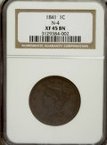 Large Cents: , 1841 1C XF45 NGC. N-4. NGC Census: (4/68). PCGS Population (4/43).Mintage: 1,597,367. Numismedia Wsl. Price for NGC/PCGS ...