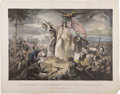 """Military & Patriotic:Civil War, """"Outbreak of the Rebellion in the United States 1861"""" Lithograph, ca. 1865...."""