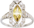Estate Jewelry:Rings, Art Deco Colored Diamond, Diamond, Platinum Ring. ...