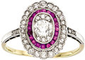 Estate Jewelry:Rings, Art Deco Diamond, Ruby, Platinum, Gold Ring. ...