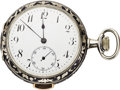 Timepieces:Pocket (post 1900), Swiss Quarter Hour Repeater with Silver and Niello Case, circa1905. ...