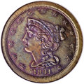 Proof Braided Hair Half Cents, 1841 1/2 C Second Restrike PR66 Brown NGC....