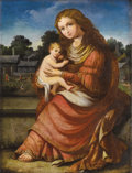 Old Master:Italian, Circle of DOMENICHINO (Italian, 1581-1641). Madonna andChild, circa 1600-1610. Oil on beveled mahogany panel. 15-3/8 x...