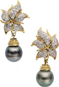Estate Jewelry:Earrings, Black South Sea Cultured Pearl, Diamond, Gold Earrings. ... (Total:2 Items)
