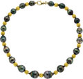 Estate Jewelry:Necklaces, Black South Sea Cultured Pearl, Gold Necklace. ...