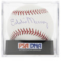 Autographs:Baseballs, Eddie Murray Single Signed Baseball, PSA Mint 9. 500 Home Run Clubmember Eddie Murray has applied a tremendous sweet spot s...