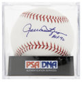 "Autographs:Baseballs, Rollie Fingers ""HOF 92"" Single Signed Baseball, PSA Mint 9. Themustachioed mound specialist makes the provided OML orb the ..."