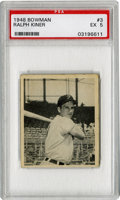 Baseball Cards:Singles (1940-1949), 1948 Bowman Ralph Kiner #3 PSA EX 5. 1948 Bowman rookie card fromone of the most prominent sluggers of his time. Few who ...