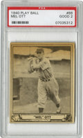 "Baseball Cards:Singles (1940-1949), 1940 Play Ball Mel Ott #88 PSA Good 2. The New York Giants star""Master Melvin"" swung a big bat. Here the Hall of Famer is ..."