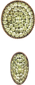 Estate Jewelry:Suites, Victorian Chrysoberyl, Silver-Topped Gold Jewelry Suite. ...(Total: 2 Items)