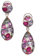 Estate Jewelry:Earrings, Sapphire, Ruby, Diamond, White Gold Earrings. ... (Total: 2 Items)