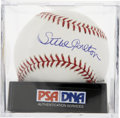 Autographs:Baseballs, Steve Carlton Single Signed Baseball, PSA Mint 9. Steve Carlton,the lefty Hall of Fame ace, has inked a high-quality autogr...