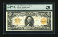 Large Size:Gold Certificates, Fr. 1187 $20 1922 Gold Certificate PMG Very Fine 20. This is a nice, bright mid-grade example....