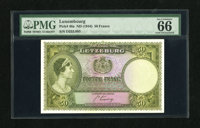 """Luxembourg 50 Francs (1944) Pick 46a This scarce note has the """"Exceptional Paper Quality"""" addenda on the label..."""
