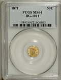 California Fractional Gold: , 1871 50C Liberty Round 50 Cents, BG-1011, R.2, MS64 PCGS. Thisprooflike near-Gem is mostly light gold aside from a blush o...