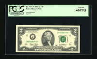 Fr. 1937-J* $2 2003 Federal Reserve Star Note. PCGS Gem New 66PPQ. Wide margins surround this handsome Deuce with serial...