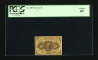 Fr. 1230 5c First Issue PCGS Gem New 65. Ample margins surround this high-grade Fractional