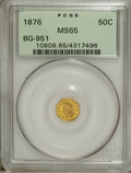California Fractional Gold: , 1876 50C Indian Octagonal 50 Cents, BG-951, High R.5, MS65 PCGS.The brightly mirrored yellow-gold fields and the luminous,...