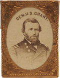 Political:Ferrotypes / Photo Badges (pre-1896), Ulysses S. Grant: Photo Badge in Gilt Frame,...