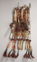 American Indian Art:Beadwork and Quillwork, A SIOUX BEADED AND QUILLED HIDE TIPI ORNAMENT. c. 1890...