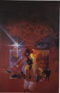 Mainstream Illustration, BILL SIENKIEWICZ (American 20th Century). Mercedes Nights,1987. Mixed-media on board. 37.5 x 24 in.. Signed lower left...