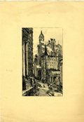 Original Comic Art:Miscellaneous, George Hollrock - Cityscape Print (undated)....