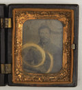 Photography:Tintypes, Tintype Ninth Plate of Soldier with Lock of Hair,...