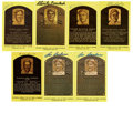 Autographs:Post Cards, Signed Gold Hall of Fame Plaques Lot of 7. Each of the seven goldHall of Fame plaque postcards that we present here has be...