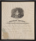 "Military & Patriotic:Civil War, General George W. Thomas, the ""Rock of Chickamauga"", Membership Certificate for the Dialectic Society of the United States..."