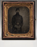 Photography:Tintypes, Tintype Ninth Plate of Soldier with Pistol in Belt Leaning onSaber,...