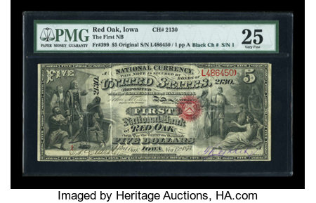 Red Oak, IA - $5 Original Black Charter Number Fr. 399 The First NB Ch. # 2130 ...