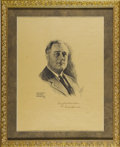 Autographs:U.S. Presidents, Franklin D. Roosevelt: Inscribed and Signed 1932 LithographSketch....