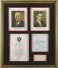 Autographs:U.S. Presidents, Franklin D. Roosevelt: Typed Letter Signed as President.. Henry A.Wallace: Signed Card....