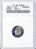 Proof Roosevelt Dimes, 1981-S 10C Type Two PR68 Cameo ANACS. NGC Census: (4/0). PCGSPopulation (2/4). (#85262)...