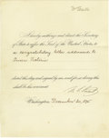 Autographs:U.S. Presidents, Ulysses S. Grant Presidential Note Authorizing a CongratulatoryLetter to Queen Victoria Signed ...