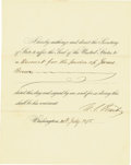 Autographs:U.S. Presidents, Ulysses S. Grant Partly Printed Document Signed as President. ...(Total: 2 Items)