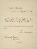 Autographs:U.S. Presidents, Benjamin Harrison Partially Printed Document Signed ...
