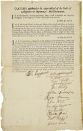 Autographs:Statesmen, Printed Oath of Allegiance to King George II, Signed by WilliamPepperrell and 13 Others. ...