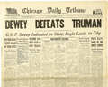 "Autographs:U.S. Presidents, [Harry S. Truman] ""DEWEY DEFEATS TRUMAN"" Edition of the ChicagoDaily Tribune. ..."
