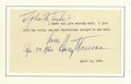 Autographs:U.S. Presidents, Harry S Truman Typed Quotation Inscribed and Signed...