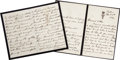 Autographs:Non-American, Empress Victoria of Germany and Princess Victoria of PrussiaAutograph Letter Jointly Signed, a two-part letter written and ...(Total: 2 Items)